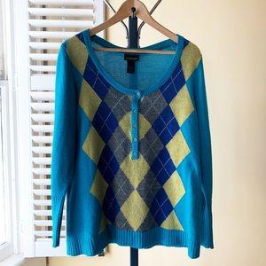 Lane Bryant Argyle Sweater Metallic Detail 14/16